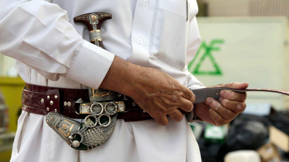 Misfer al-Qahtani, a 70 year-old retired National Guard officer wears his traditional Saudi dagger in Riyadh, Saudi Arabia. (File: AP)