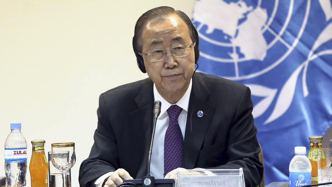nited Nations Secretary General Ban Ki-moon listens during a news conference with Salim al-Jabouri, speaker of the Iraqi Council of Representatives, in Baghdad March 30, 2015. (File Photo: Reuters)