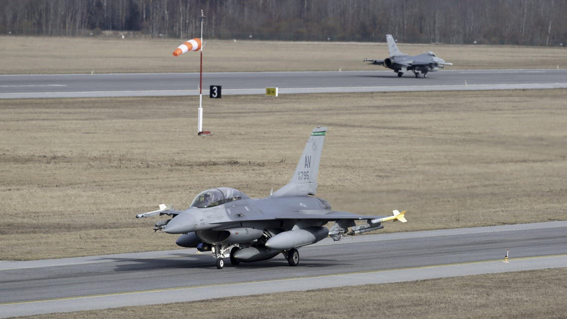 U.S. Air Force 510th Fighter Squadron's F-16 fighters are seen at Amari air base March 26, 2015. (Reuters)