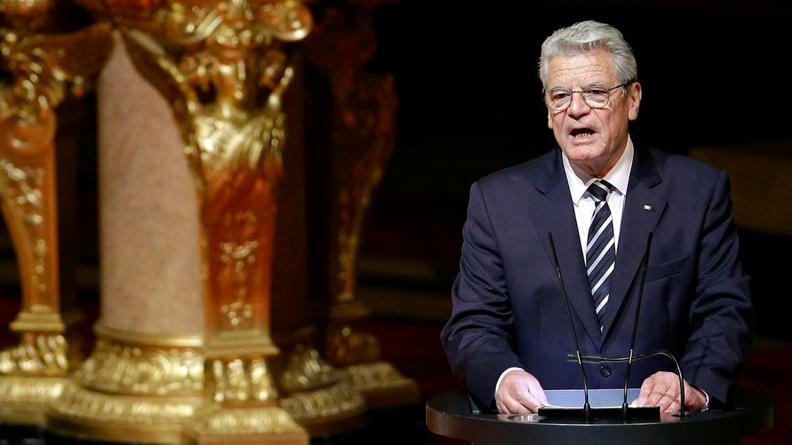 German President Joachim Gauck delivers a speech after an ecumenical service remembering the Armenian slaughter at the Berlin Cathedral Church in Berlin, Germany, Thursday, April 23, 2015. AP