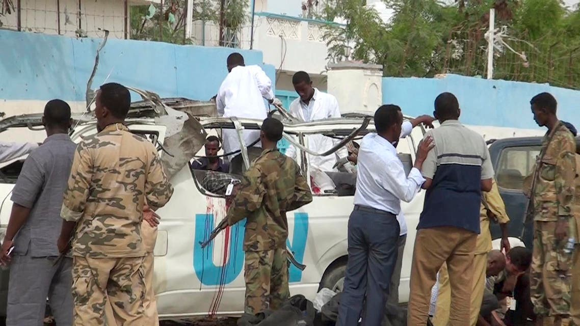 This image made from video shows the scene following a bomb attack on a van carrying U.N. employees in Garowe, in the semiautonomous Puntland region of northern Somalia Monday, April 20, 2015. (AP)
