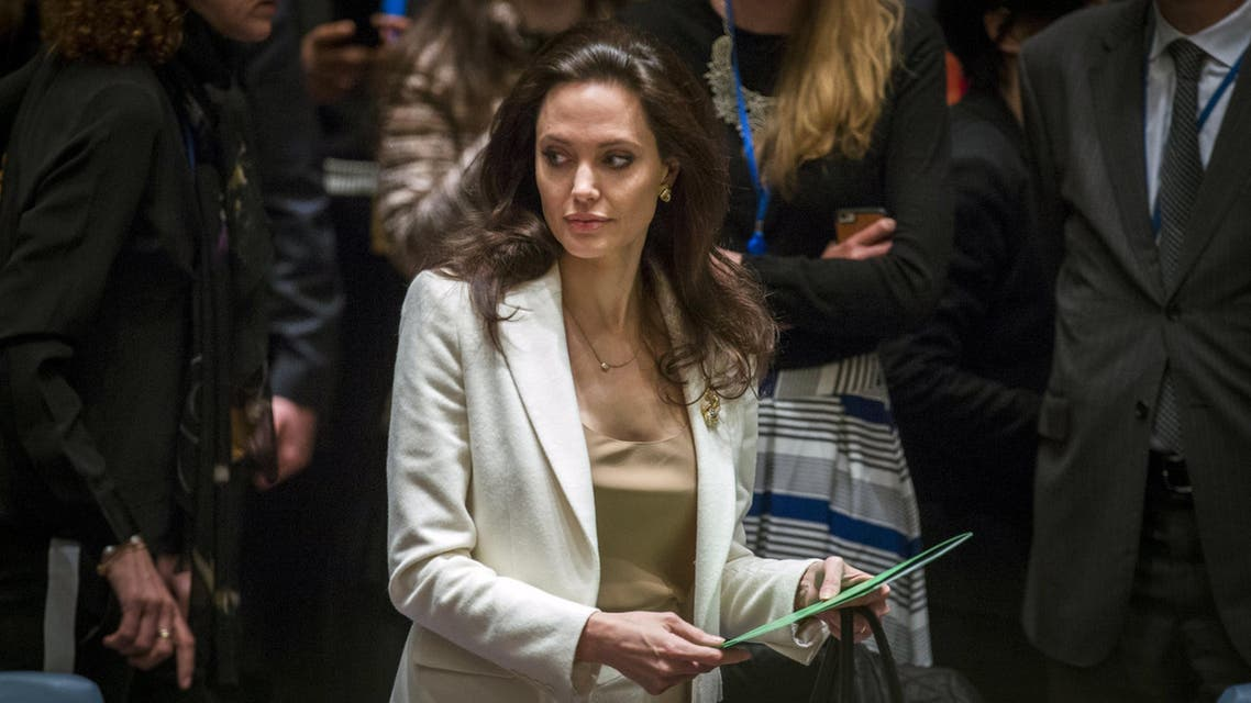UNHCR special envoy, actress Angelina Jolie, arrives to speak during a UNSC meeting regarding the refugee crisis in Syria at the U.N. HQ in New York April 24, 2015. (Reuters)