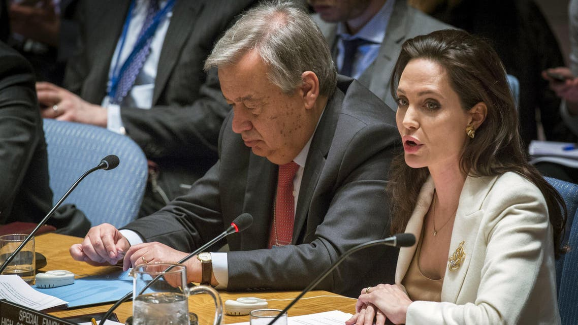 UNHCR special envoy, actress Angelina Jolie (R), speaks during a United Nations Security Council meeting regarding the refugee crisis in Syria at the UN HQ in New York April 24, 2015. (Reuters)
