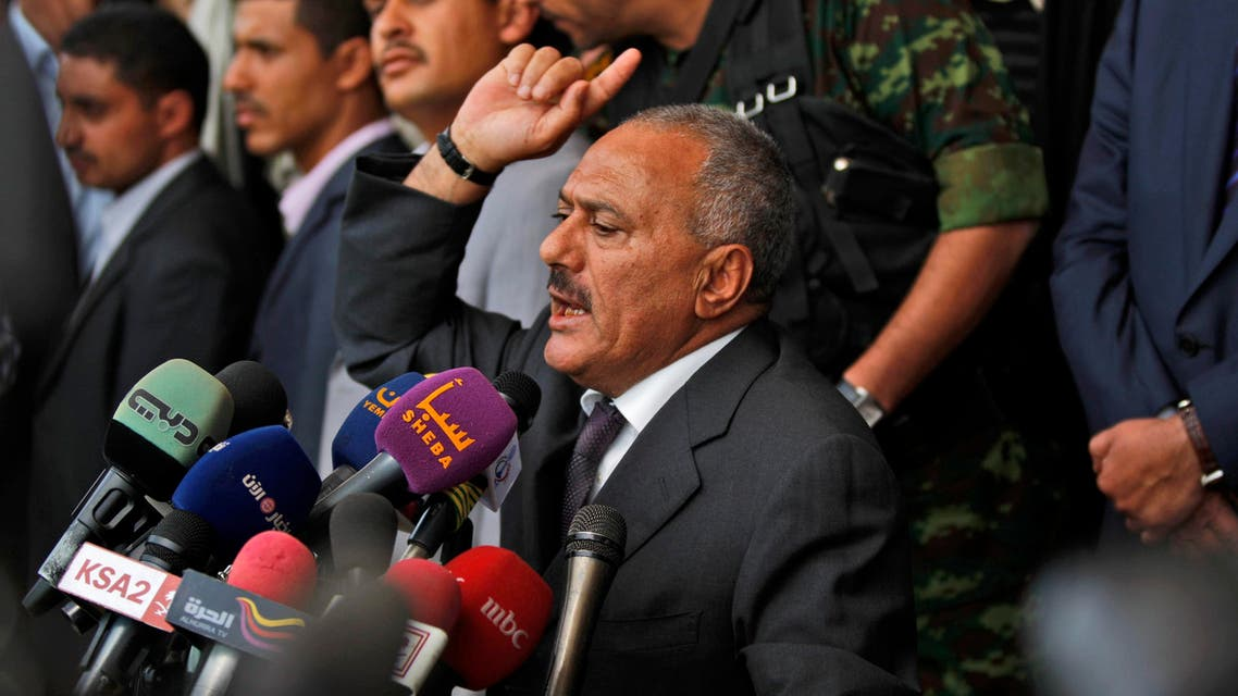 Yemeni President Ali Abdullah Saleh, delivers a speech to his supporters during a rally supporting him in Sanaa,Yemen, Friday, April 1, 2011.  (AP)