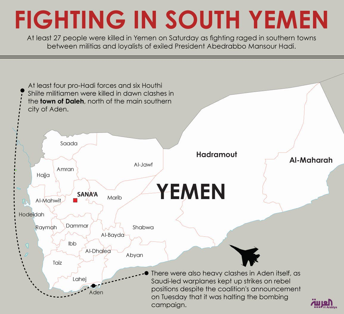 Infographic: Fighting in south Yemen