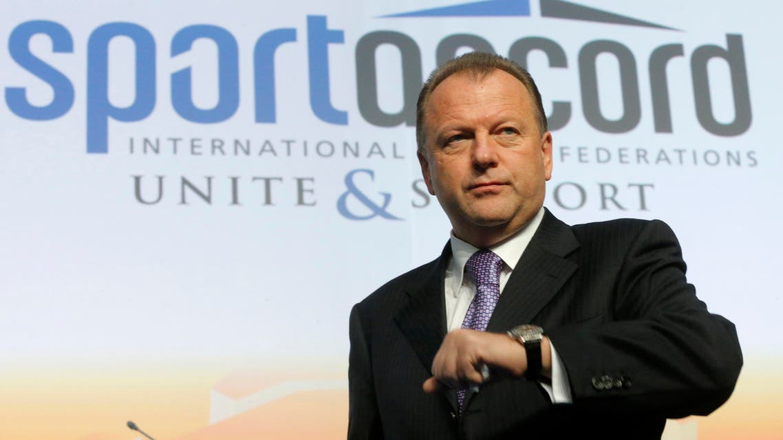 Marius Vizer, president of the International Judo Federation, (IJF) attends the SportAccord International Convention in St. Petersburg, Russia. AP