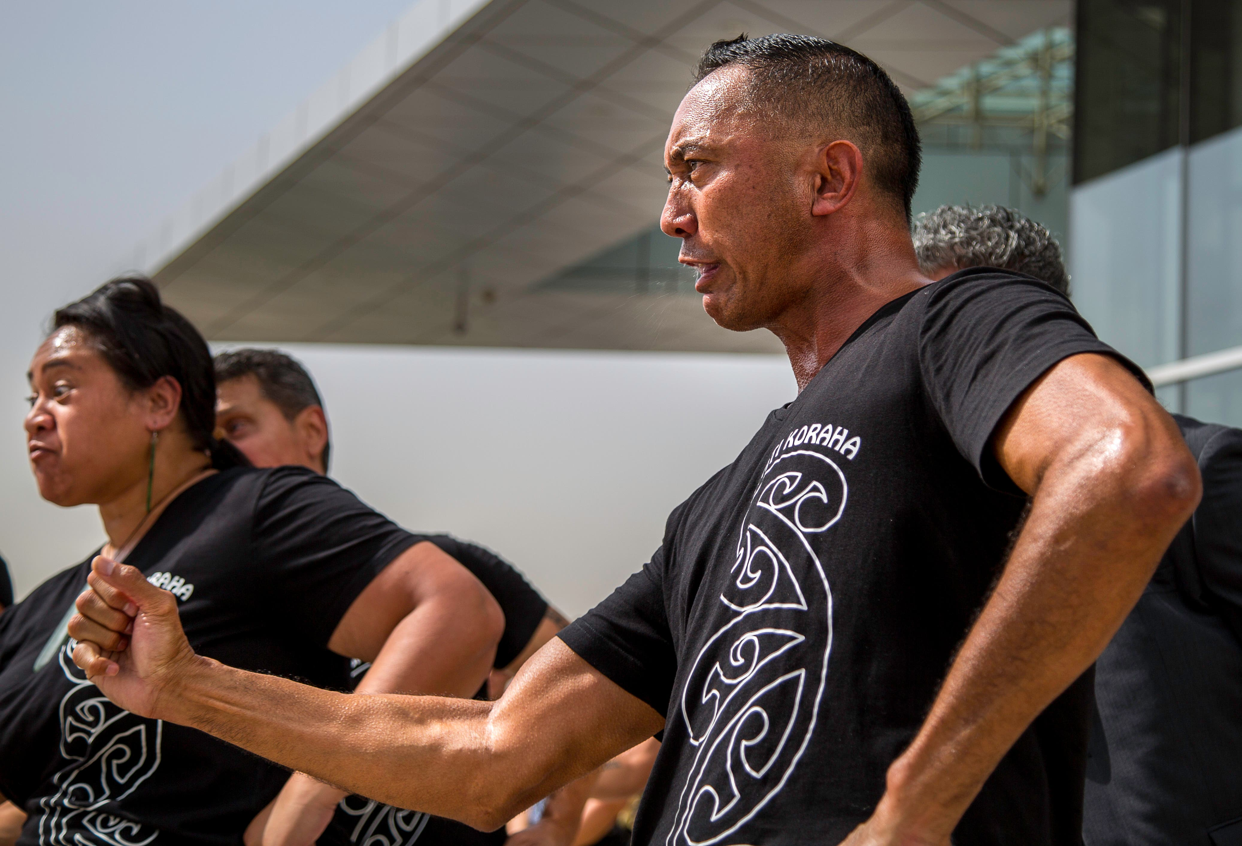 Members of a Maori cultural group perform the Haka (Amanda Fisher)