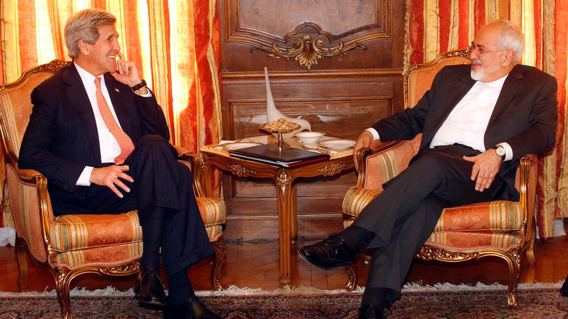U.S. Secretary of State John Kerry, left, meets with Iran's Foreign Minister Mohammad Javad Zarif, Monday, April 27, 2015, in New York. (AP)
