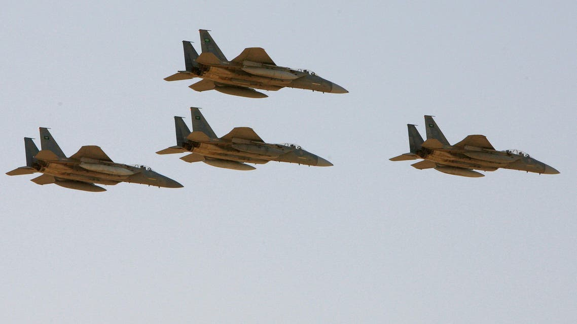 In this Sunday, Jan. 25, 2009 file photo, F-15 warplanes of the Saudi Air Force fly over the Saudi Arabian capital Riyadh during a graduation ceremony at King Faisal Air Force University. The Obama administration is expected to notify Congress on Wednesday, Oct. 20, 2010 of a multibillion-dollar sale of fighter jets and military helicopters to Saudi Arabia, including as many as 84 new F-15 fighter jets and three types of helicopters, officials said Tuesday, Oct. 19, 2010. (AP Photo/Hassan Ammar, File)