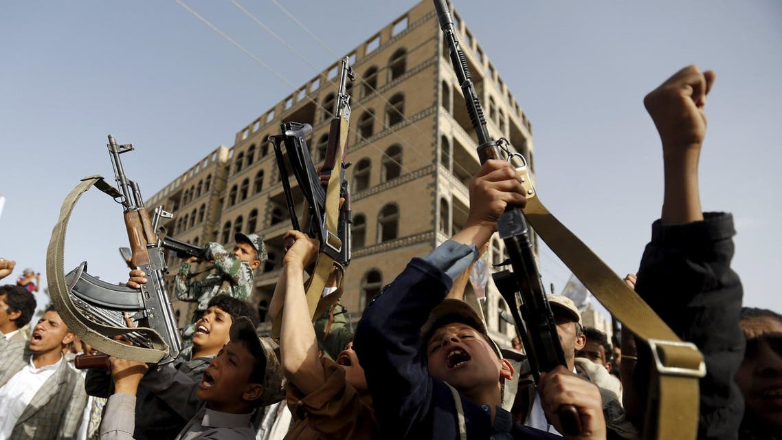 Boys supporting the Houthi group hold up rifles as they shout slogans during a demonstration against the air strikes by the Saudi-led coalition in Sanaa April 27, 2015. (Reuters)