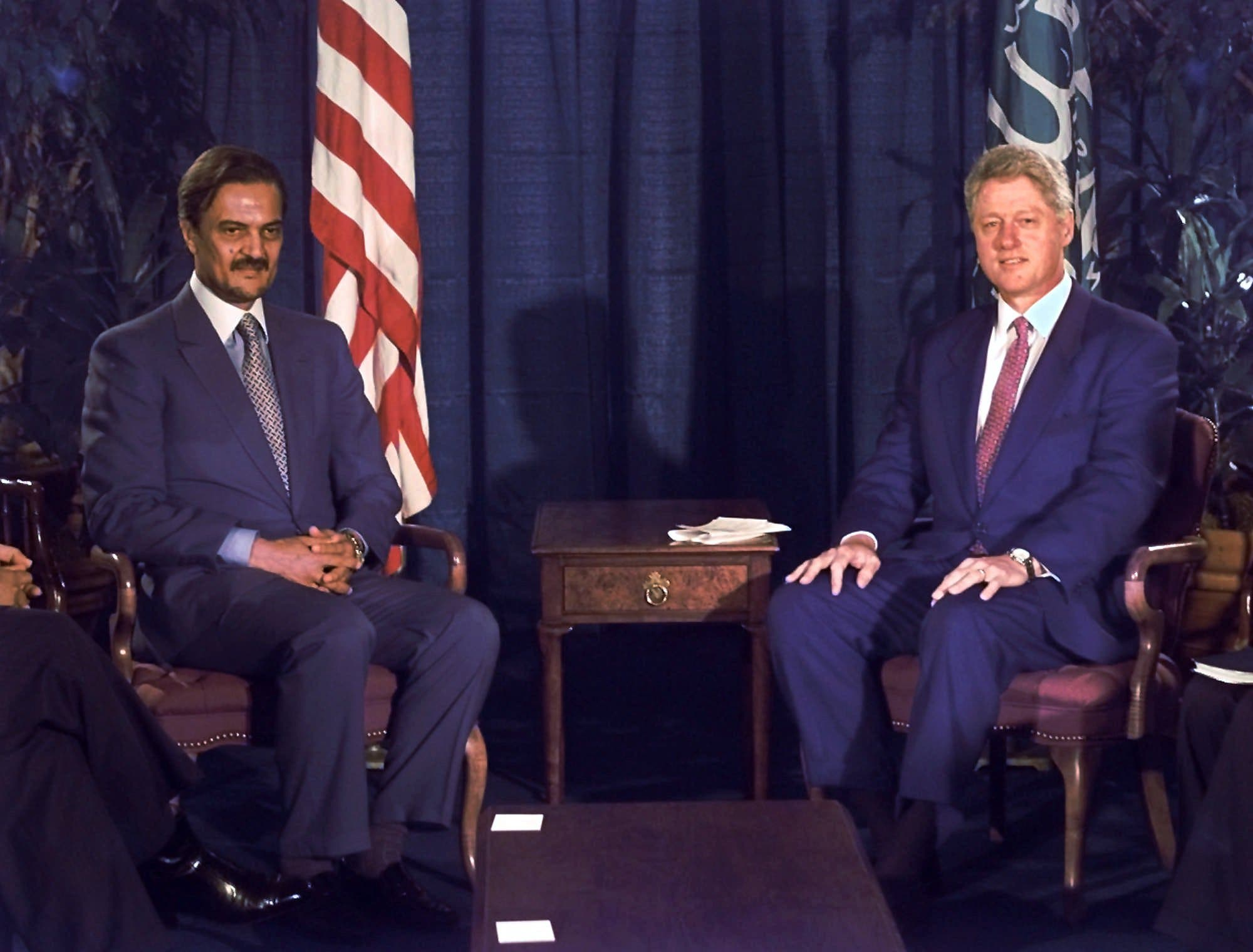 President Clinton poses for pictures with Saudi Foreign Minister Prince Saud Al-Faisal before a meeting at the United Nations Tuesday, Sept. 24, 1996. (AP Photo/Greg Gibson)