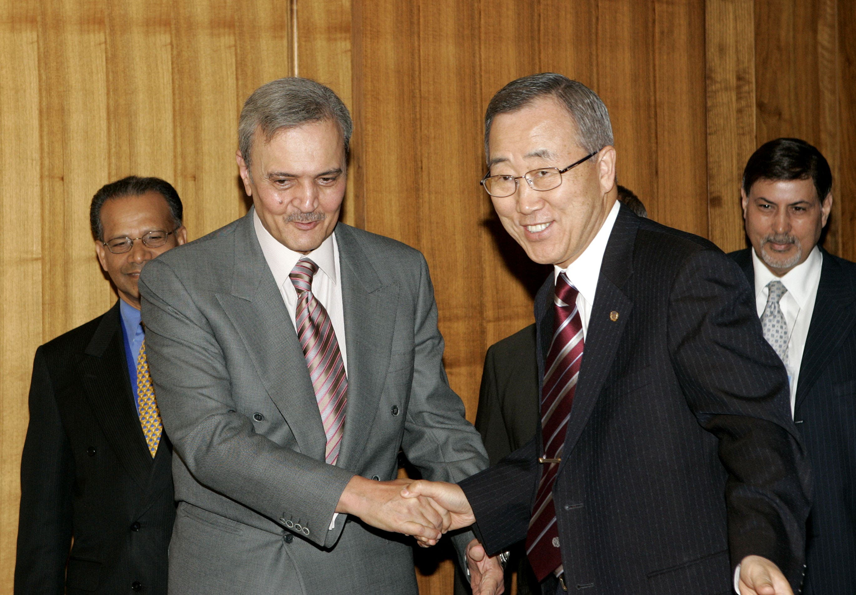 United Nations Secretary General Ban Ki-moon, right, greets Prince Saud Al-Faisal, Foreign Affairs minister of Saudi Arabia at U.N. headquarters in New York Thursday, Sept. 25, 2008. (AP)