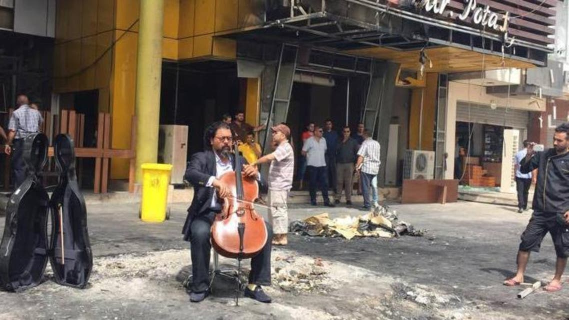 Iraqi maestro Karim Wasfi plays his cello