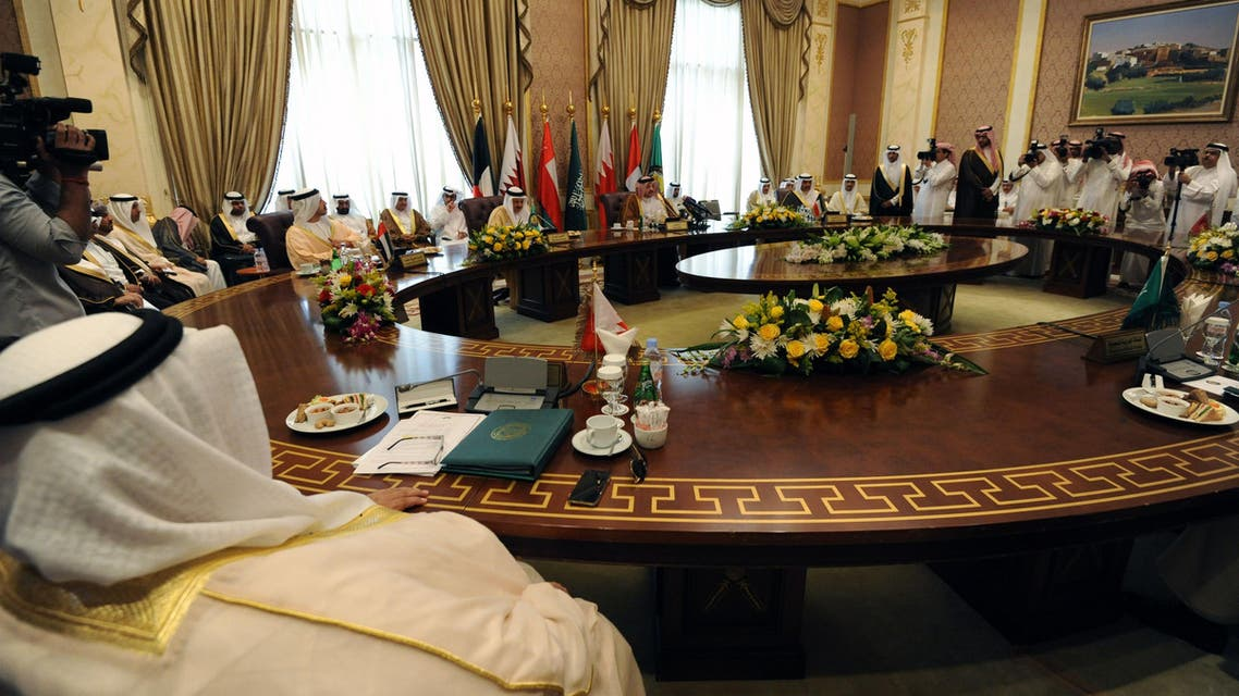 The Gulf foreign ministers takes part in a meeting to discuss the war in Yemen on April 30, 2015 in the Saudi capital Riyadh, few days ahead of the summit of the Gulf Cooperation Council (GCC). (AFP)