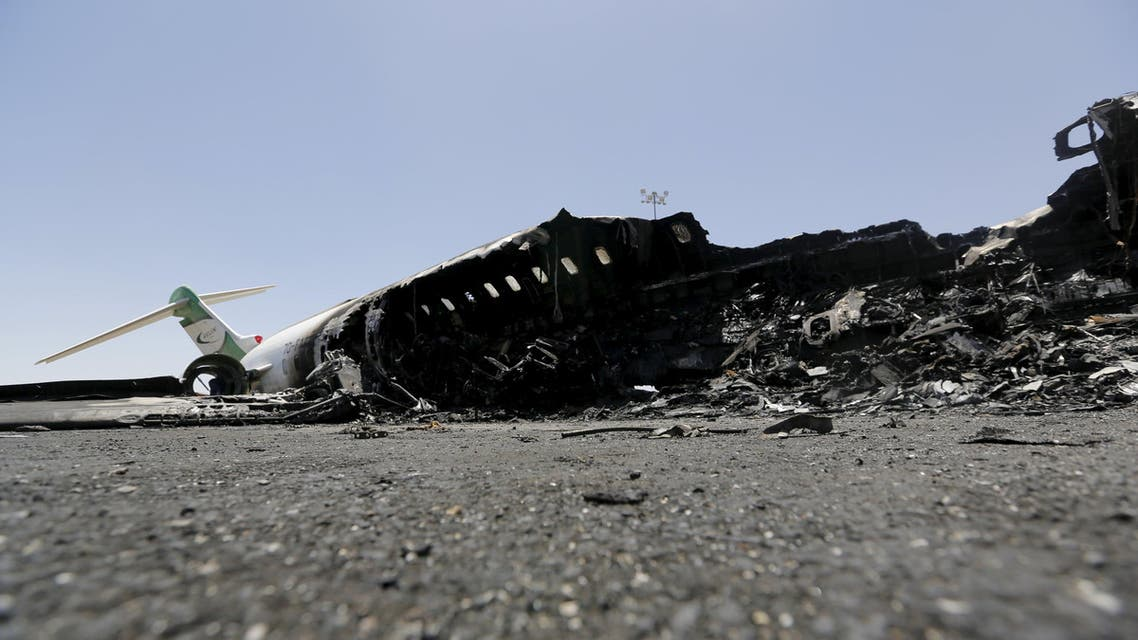A Felix Airways plane is pictured after it was set ablaze by an air strike at the international airport of Yemen's capital Sanaa, April 29, 2015. (Reuters)