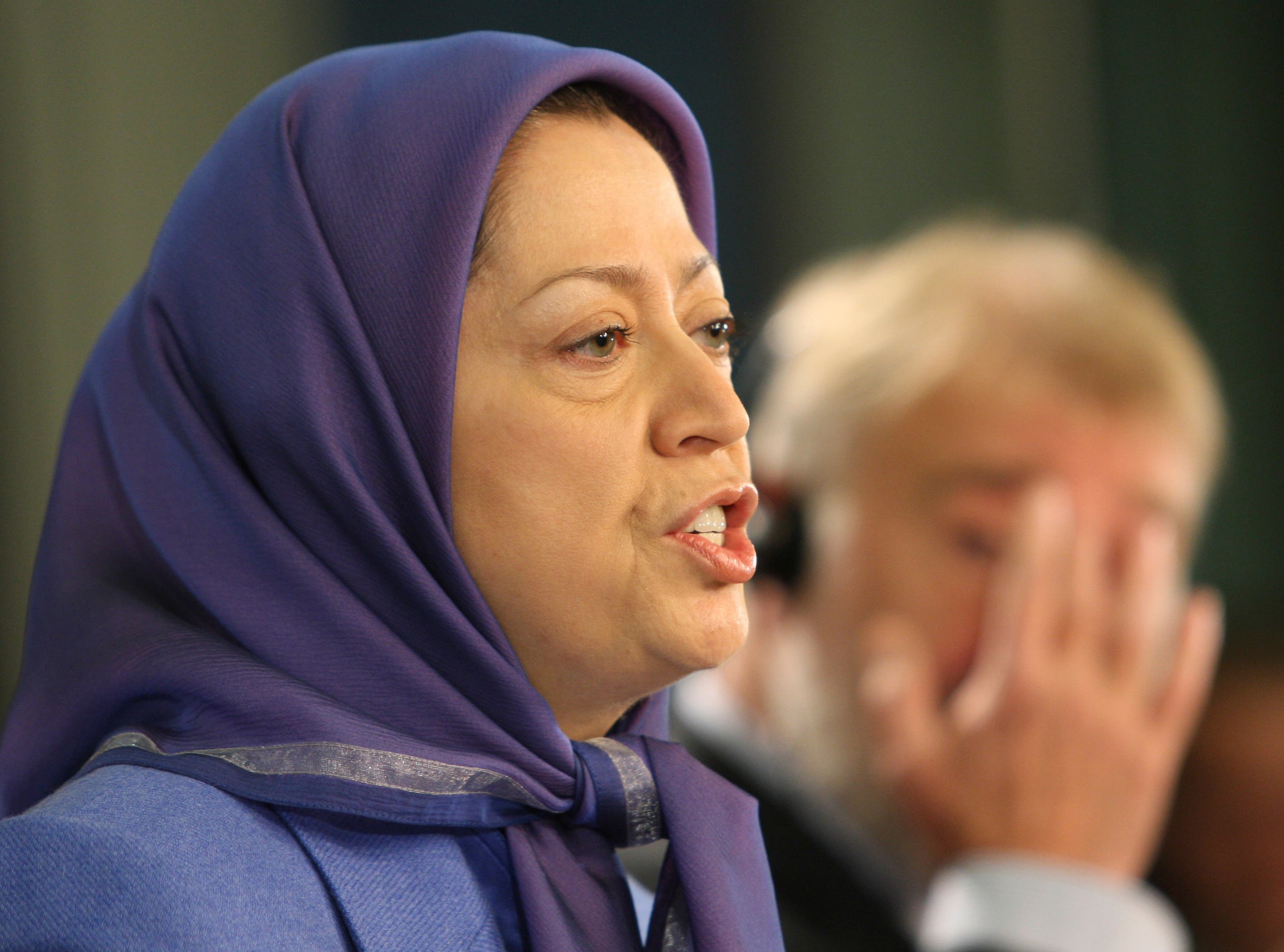 Maryam Rajavi, leader of the National Council of Resistance of Iran addresses the media in Brussels. (File: AP)