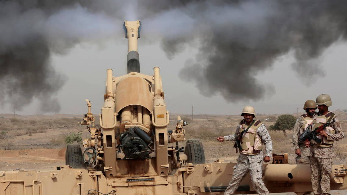 In this Monday, April 20, 2015 file photo, Saudi soldiers fire artillery toward three armed vehicles approaching the Saudi border with Yemen in Jazan, Saudi Arabia. (AP)