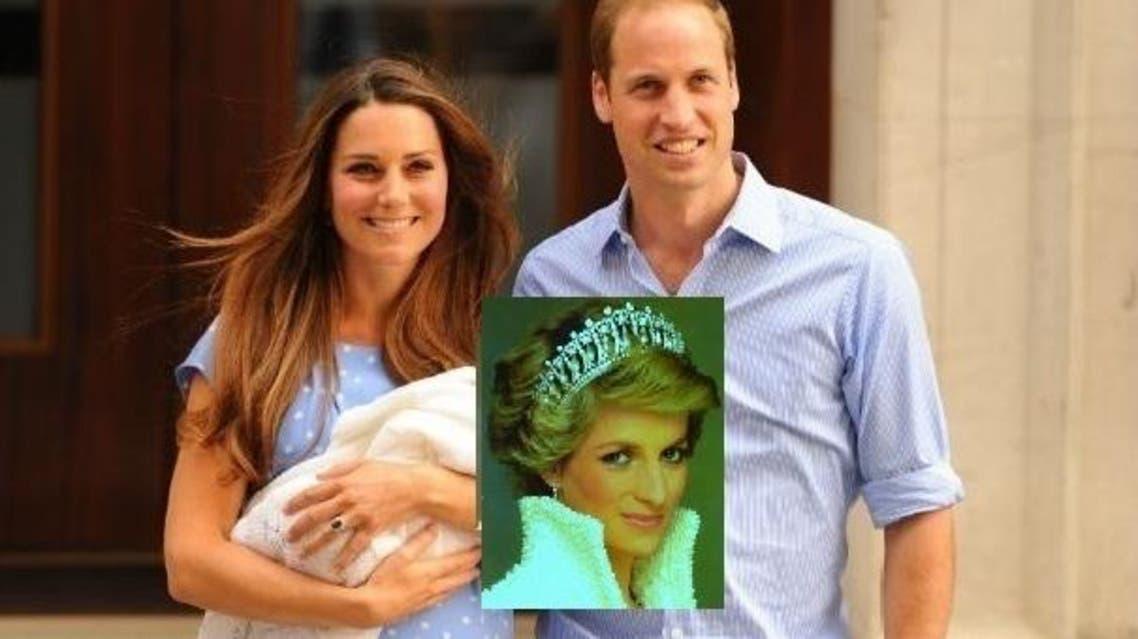 دوق كامبريدج الأمير وليام وزوجته وفي الاطار والدته القتيلة ديانا