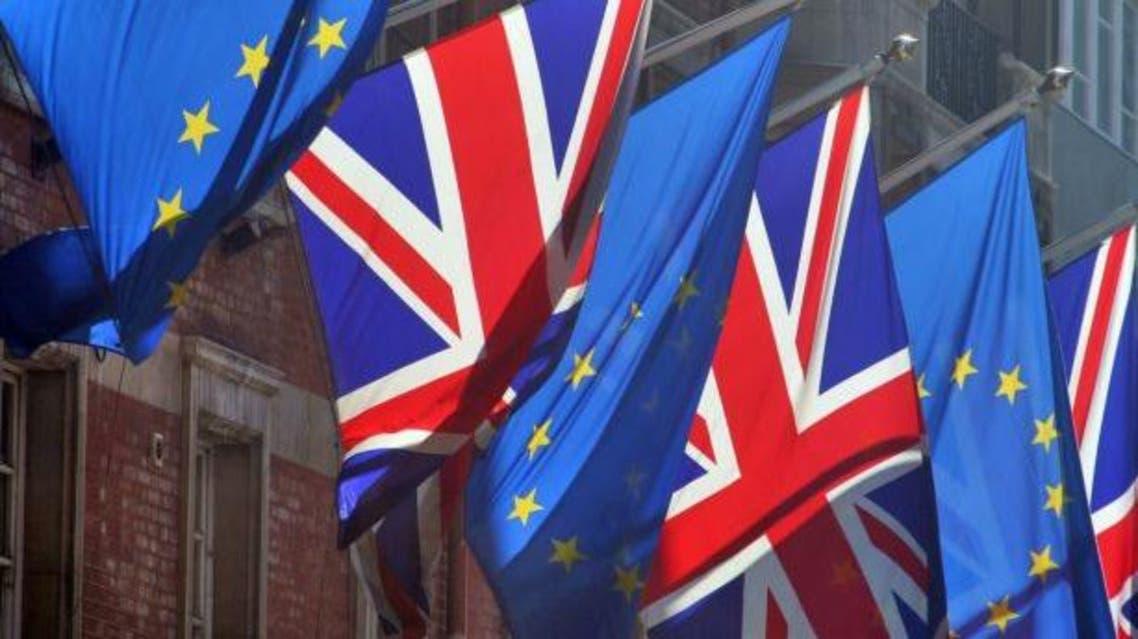 علم بريطانيا و علم الاتحاد الأوروبي
