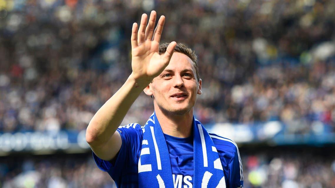 Chelsea's Nemanja Matic celebrates after winning the Barclays Premier League