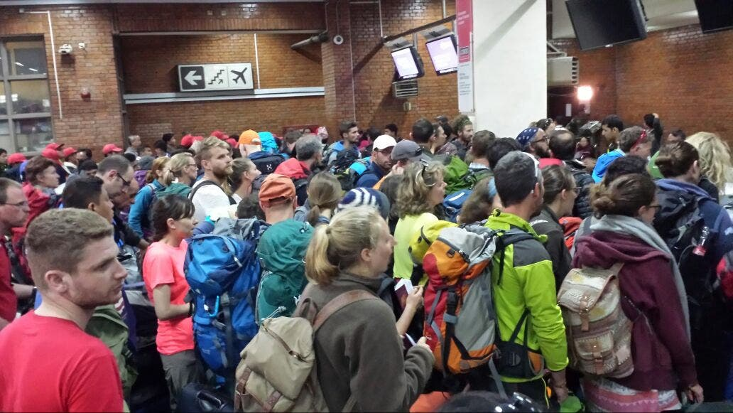 The airport was overwhelmed with people trying to flee the Nepal earthquake. (Supplied)