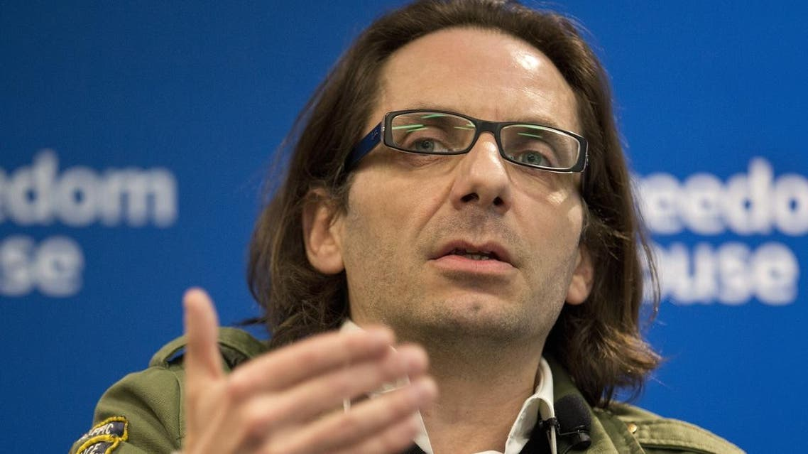 Jean-Baptiste Thoret, Charlie Hebdo's film critic, speaks at a news conference in Washington on May 1. (File photo: AFP)