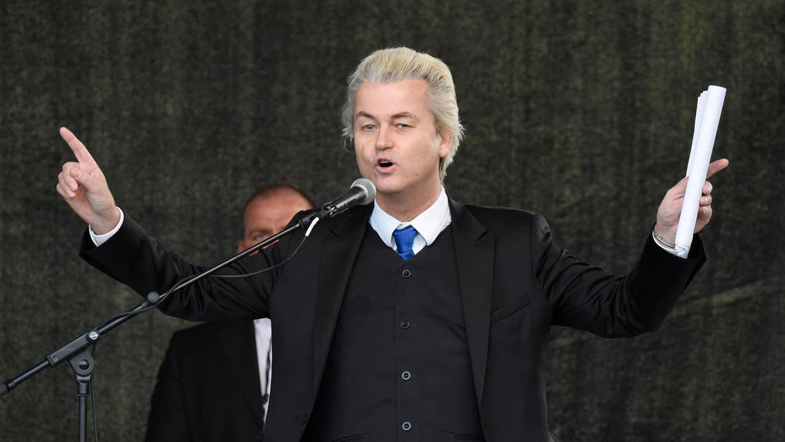 Geert Wilders, leader of the Dutch anti-Islam Freedom Party, speaks at a rally of so-called 'Patriotic Europeans against the Islamization of the West' (PEGIDA) in Dresden, Germany, Monday, April 13, 2015. (AP Photo/Jens Meyer)