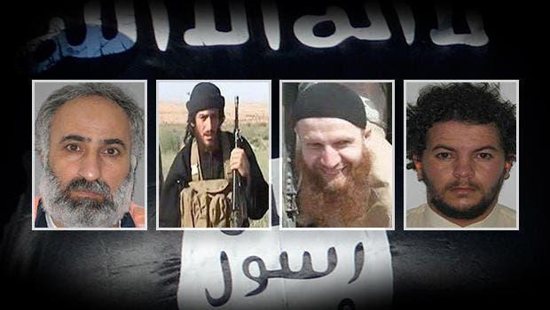 ISIS leaders (left to right): Abd al-Rahman Mustafa al-Qaduli, Abu Mohammed al-Adnani, Tarkhan Tayumurazovich Batirashvili and Tariq Bin-al-Tahar Bin al Falih al-'Awni al-Harzi. Rewards for Justice