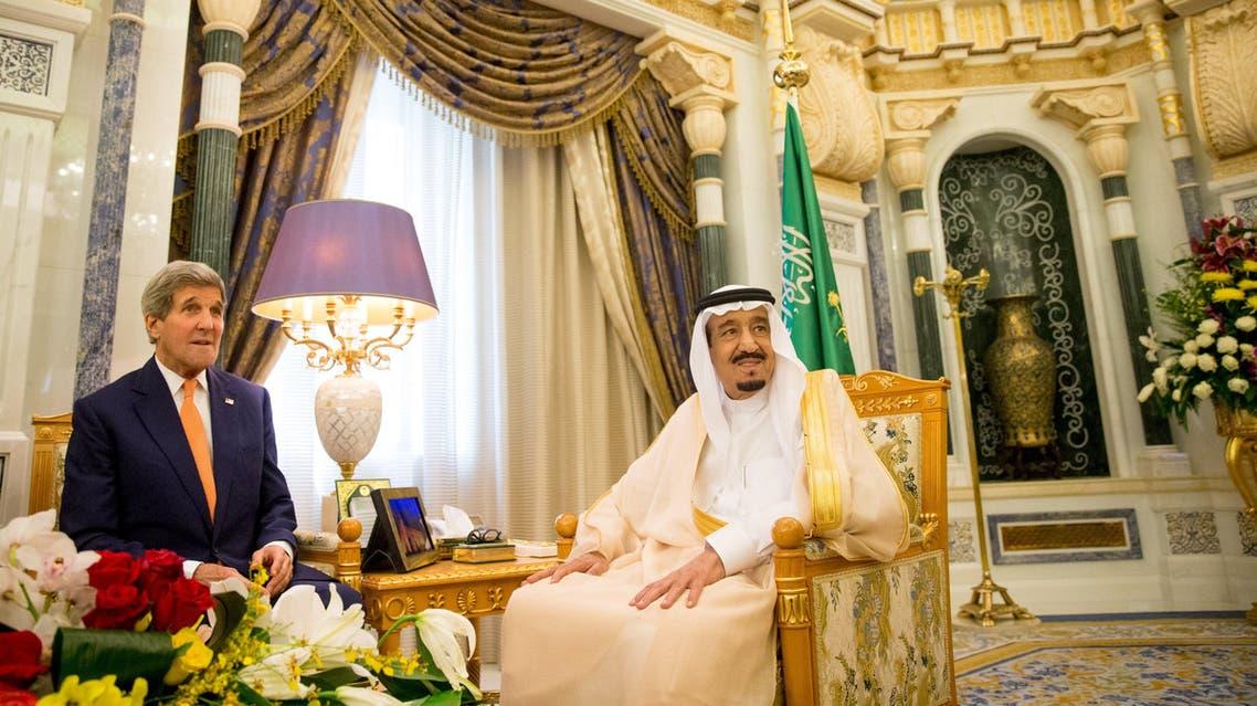 U.S. Secretary of State John Kerry (L) meets with Saudi King Salman at the Royal Court, Thursday, May 7, 2015, in Riyadh, Saudi Arabia. (Reuters)