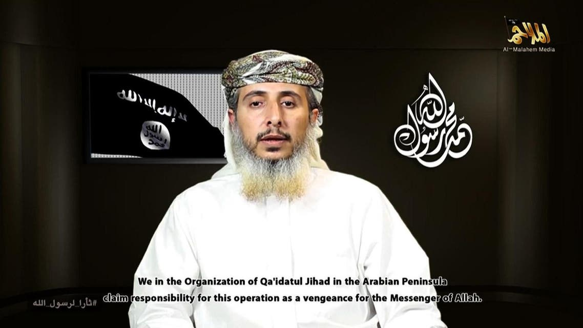A file image grab taken off a propaganda video posted online on January 14, 2015, by Al-Malahem Media, the media arm of Al-Qaeda in the Arabian Peninsula (AQAP), purportedly shows one of the group's leaders, Nasser bin Ali al-Ansi delivering a video message from an undisclosed location and claiming responsibility for the attack on the French satirical magazine Charlie Hebdo's offices in Paris. A US air strike in Yemen last month killed the senior Al-Qaeda official who appeared in the video claiming the deadly January attack on Charlie Hebdo, SITE Intelligence Group said on May 7, 2015. AFP PHOTO / HO / AL-MALAHEM MEDIA