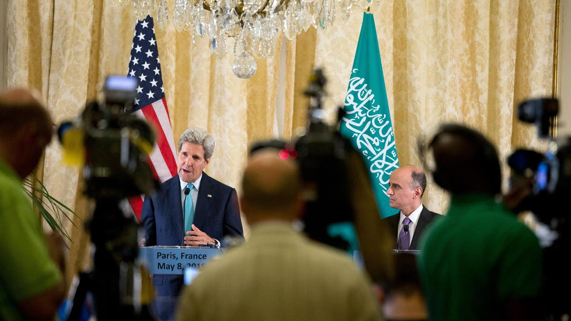 Secretary of State John Kerry, accompanied by Saudi Foreign Minister Adel al-Jubeir, speaks at a joint news conference at the Chief of Mission Residence, Paris, Friday, May 8, 2015, following a meeting with the foreign ministers of the Gulf Cooperation Council. Kerry and al-Jubeir announced that a five day humanitarian cease fire of the conflict in Yemen will happen Tuesday if the Houthis are willing to also stop their attacks. Kerry has also visited Sri Lanka, Somalia, Djibouti, Kenya, and Saudi Arabia on his trip. (AP Photo/Andrew Harnik, Pool)