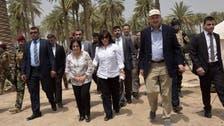 أول ظهور لعقيلة الرئيس العراقي مع النازحين