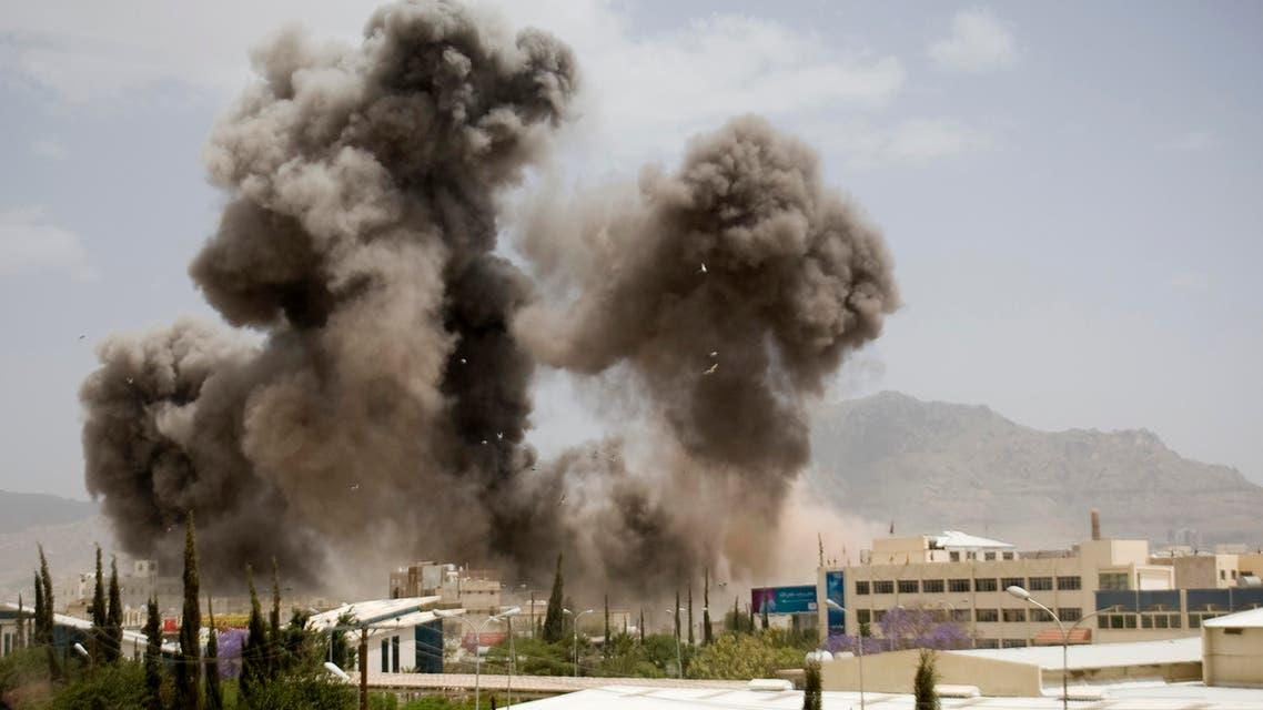 In this April 8, 2015 file photo, smoke billows from a Saudi-led airstrike, in Sanaa, Yemen. (AP)