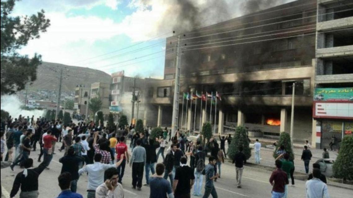 Kurdish protesters in Iran's Mahabad setting hotel on fire. (Photo courtesy: Twitter)