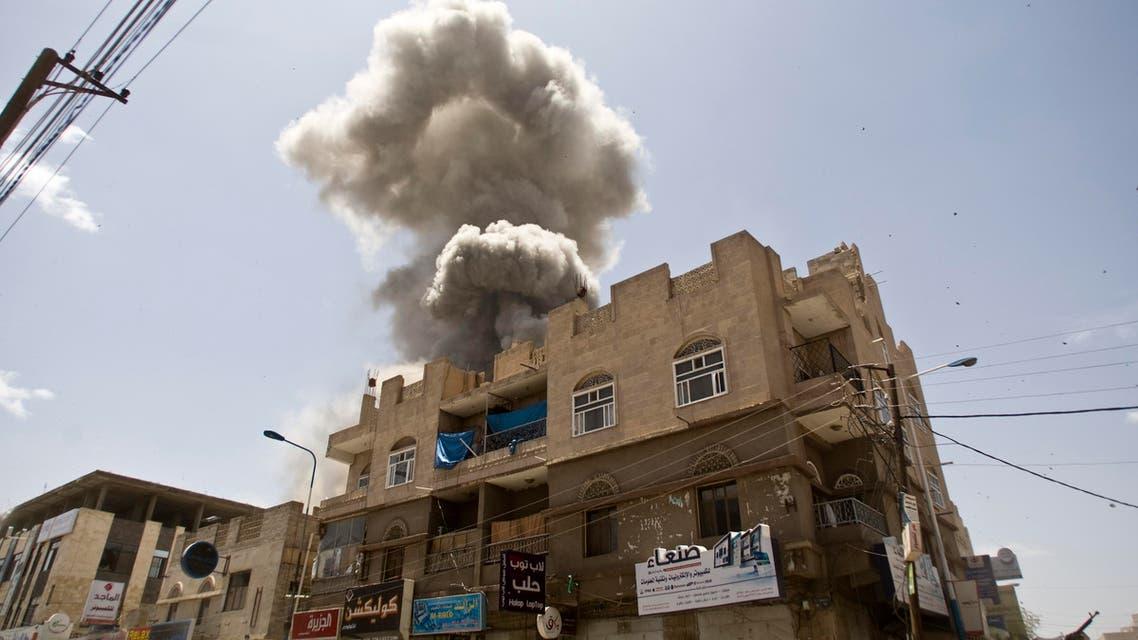In this Sunday, May 10, 2015 file photo, smoke rises from a house of former Yemeni president Ali Abdullah Saleh after a Saudi-led airstrike in Sanaa, Yemen. (AP Photo/Hani Mohammed, File)