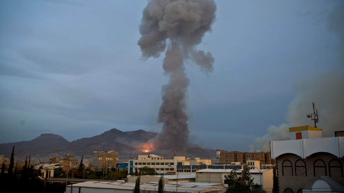 Smoke rises after a Saudi-led airstrike hit a site believed to be a munitions storage, in Yemen's capital, Sanaa, on Monday, May 11, 2015. Yemeni security officials said Sanaa came under heavy air bombardment on Monday afternoon, with the primary target being weapons and ammunition depots on Noqom mountain on the city's northeastern outskirts. The bombing unleashed a series of explosions, with shells flying out and hitting residential areas and starting fires. (AP Photo/Hani Mohammed)