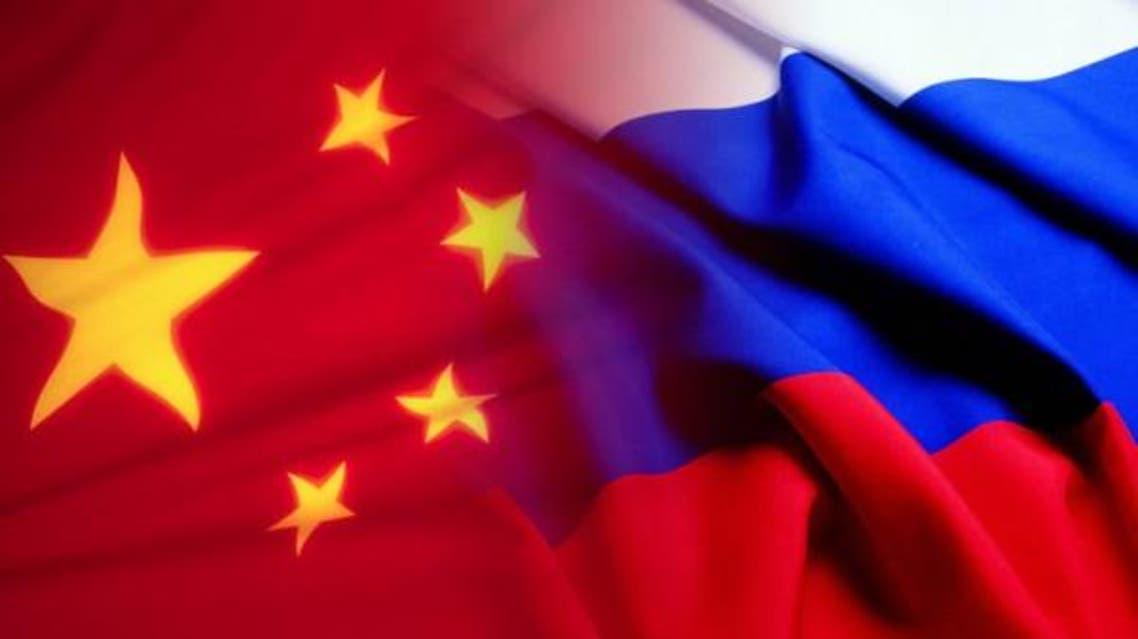 علم الصين وعلم روسيا