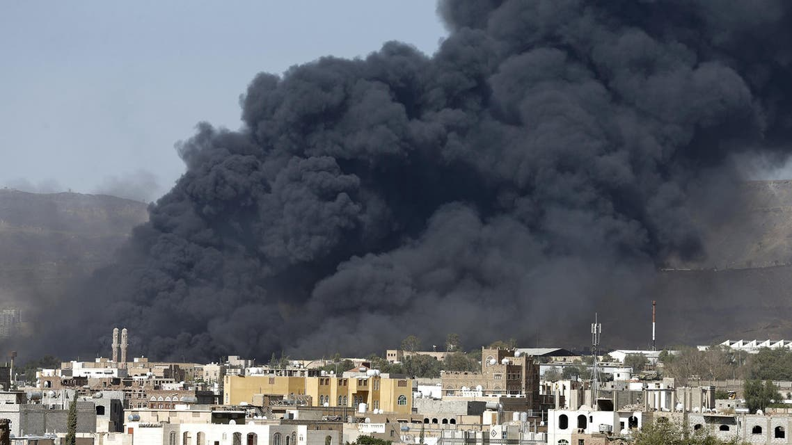 Smoke rises after air strikes hit military sites controlled by the Houthi group in Yemen's capital Sanaa May 12, 2015. (Reuters)