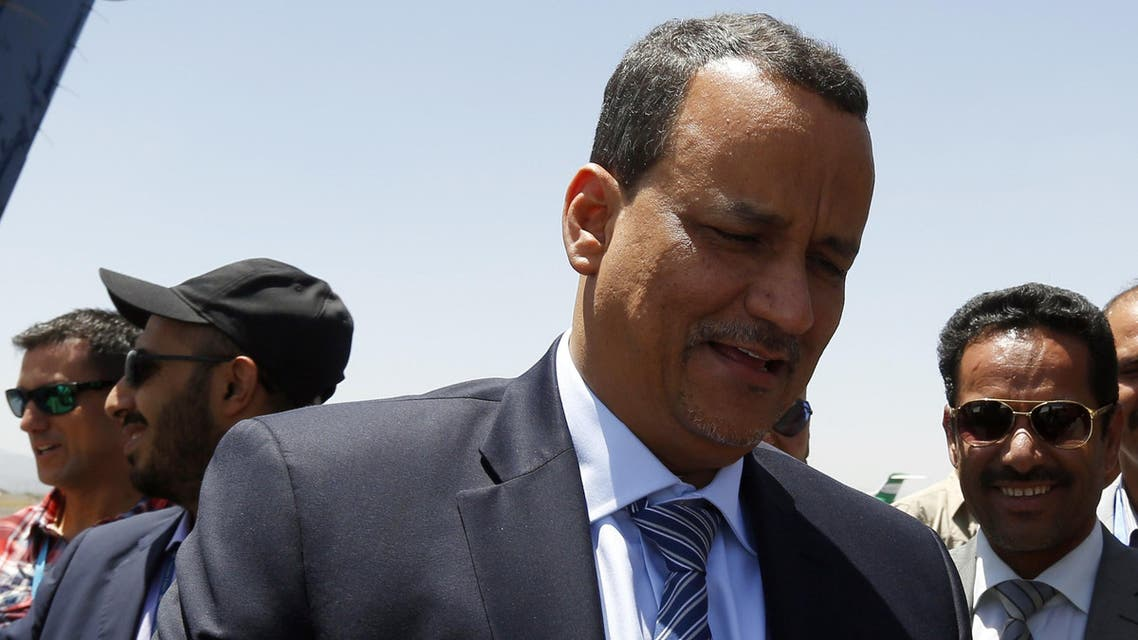 United Nations (UN) special envoy to Yemen, Ismail Weld al-Sheikh (C), arrives at the international airport in Sanaa on May 12, 2015. AFP