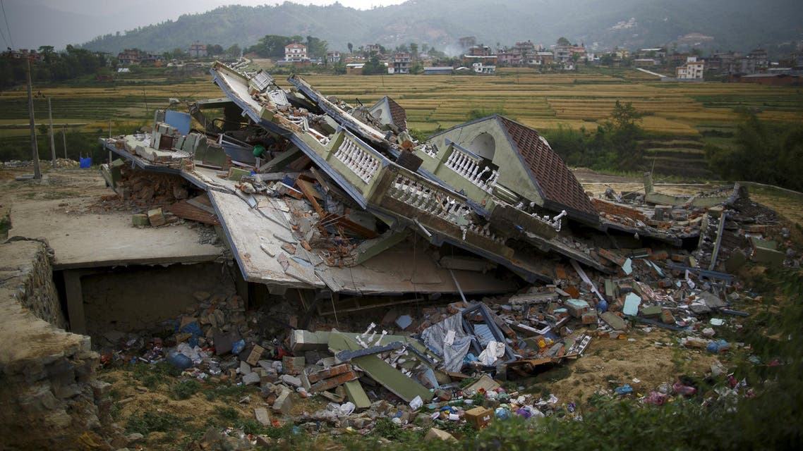 A collapsed house is pictured after the April 25 earthquake in Kathmandu reuters