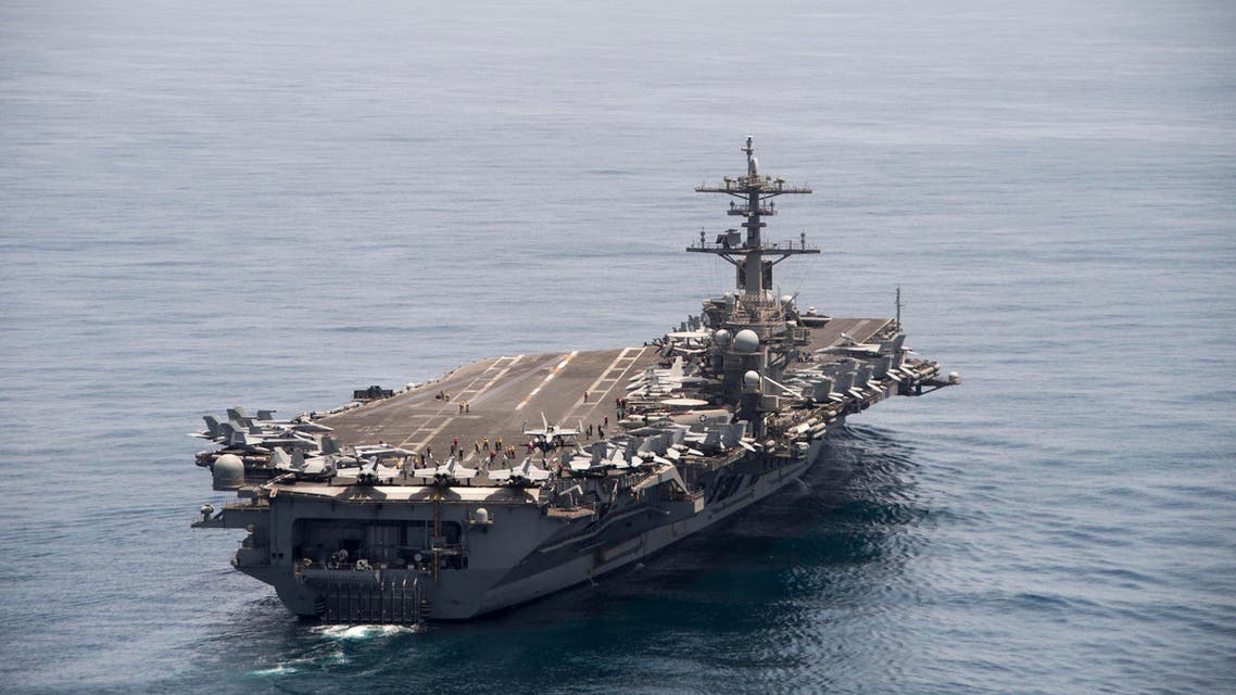 The aircraft carrier USS Theodore Roosevelt (CVN 71) operates in the Arabian Sea conducting maritime security operations in this U.S. Navy photo taken April 21, 2015. REUTERS