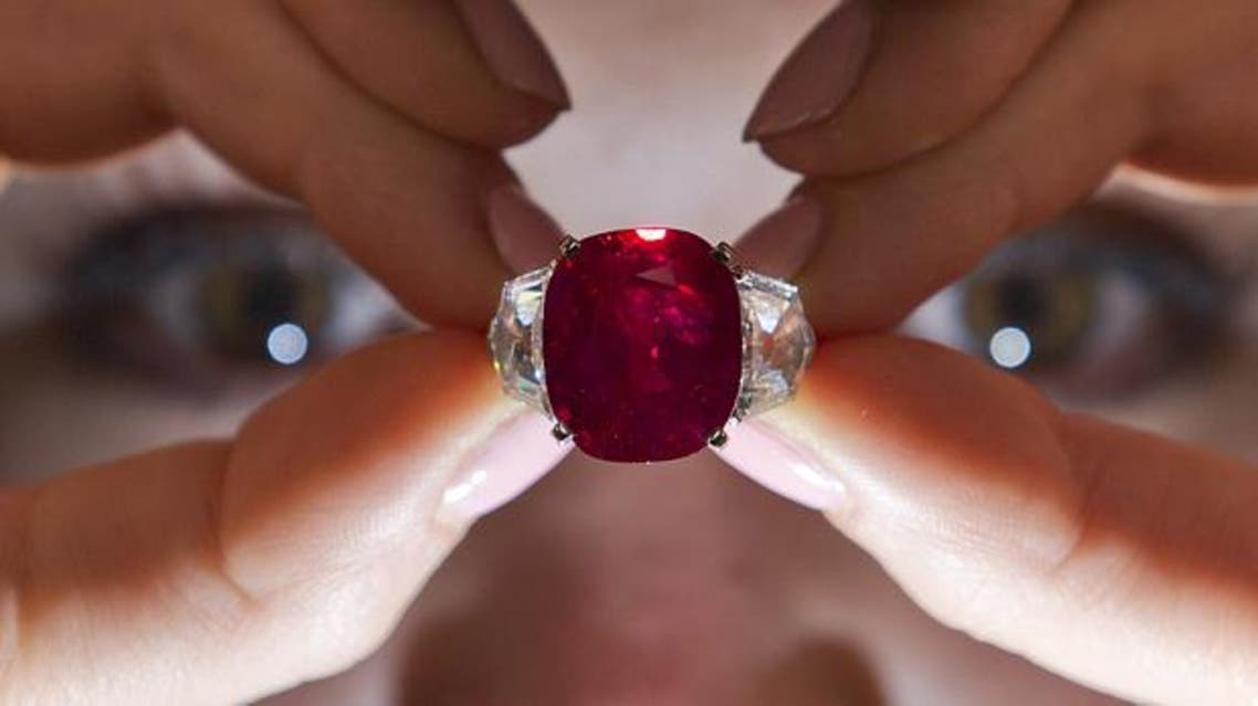 """""""The Sunrise Ruby"""", a rare Burmese ruby weighing 25.59 carats Photo: AFP"""
