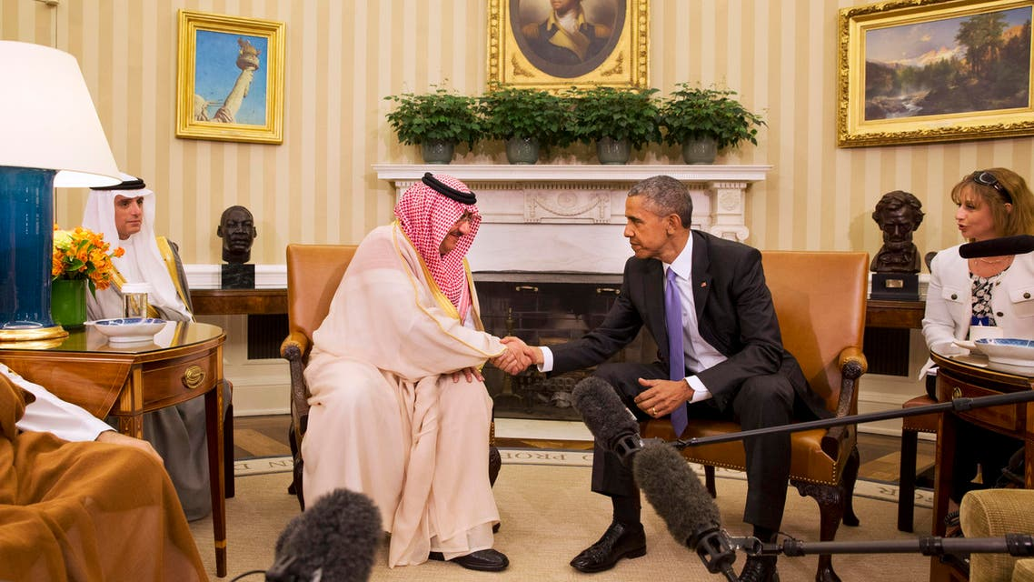 President Barack Obama shakes hands with Saudi Arabia's Crown Prince Mohammed bin Nayef, Wednesday, May 13, 2015, in the Oval Office of the White House in Washington. AP