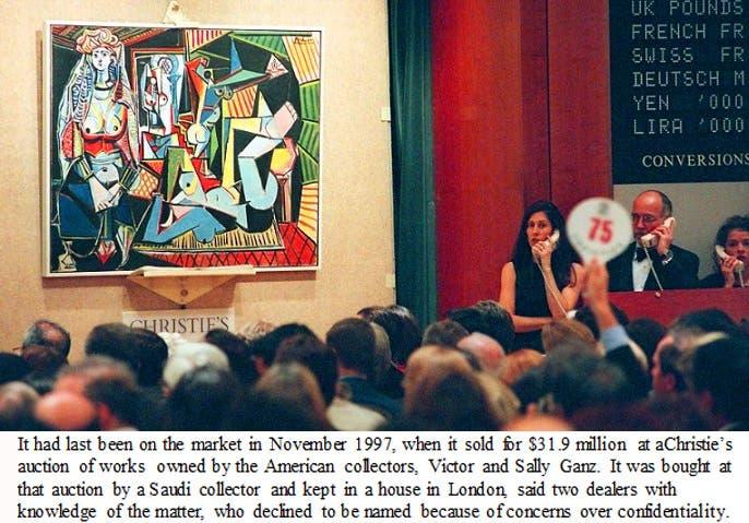 9a833d496 اللوحة وما كتبته نيويورك تايمز عن مالكها السعودي الذي احتفظ بها منذ 1997 في  منزله بلندن