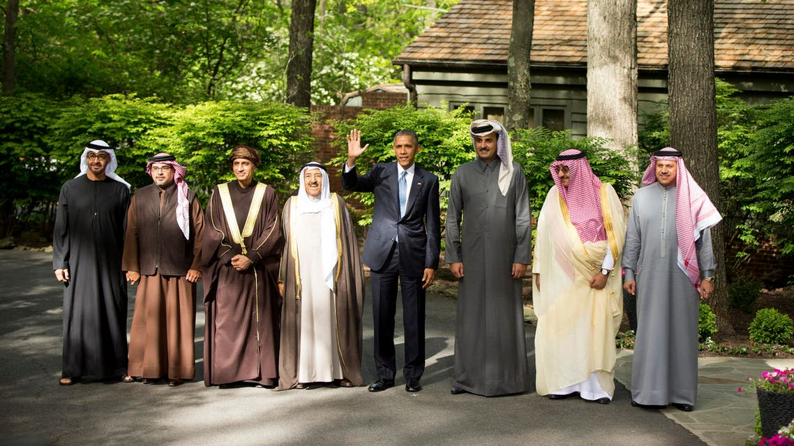 President Barack Obama, center, waves as he makes a statement to members of the media after meeting with Gulf Cooperation Council leaders and delegations at Camp David in Maryland, Thursday, May 14, 2015.