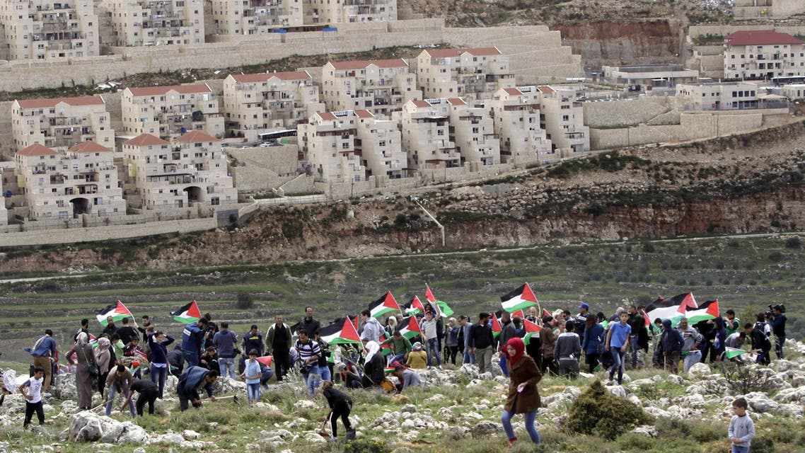 Palestinian protesters carry national flags and plant olive trees facing the Israeli settlement of Beitar Illit in the village of Wadi Fukin, near Bethlehem. (File: AP)