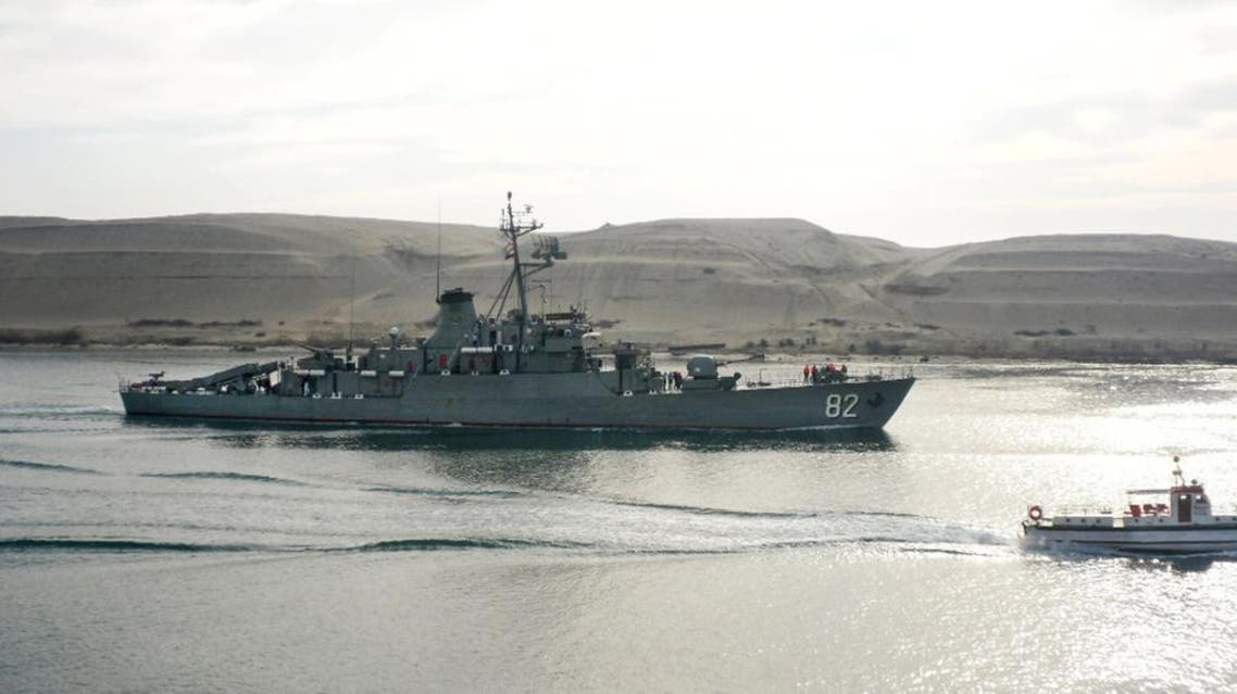 An Iranian warship crosses through the Suez Canal near Ismailia in Egypt, Tuesday, Feb. 21, 2012. An Egyptian official said two Iranian navy ships passed through the Suez Canal Tuesday on their way from the Syrian port of Tartus. The navy ships had crossed the Canal on Sunday destined for Syria, to provide maritime training to Syria's naval forces, according to Iranian media reports. (AP Photo)