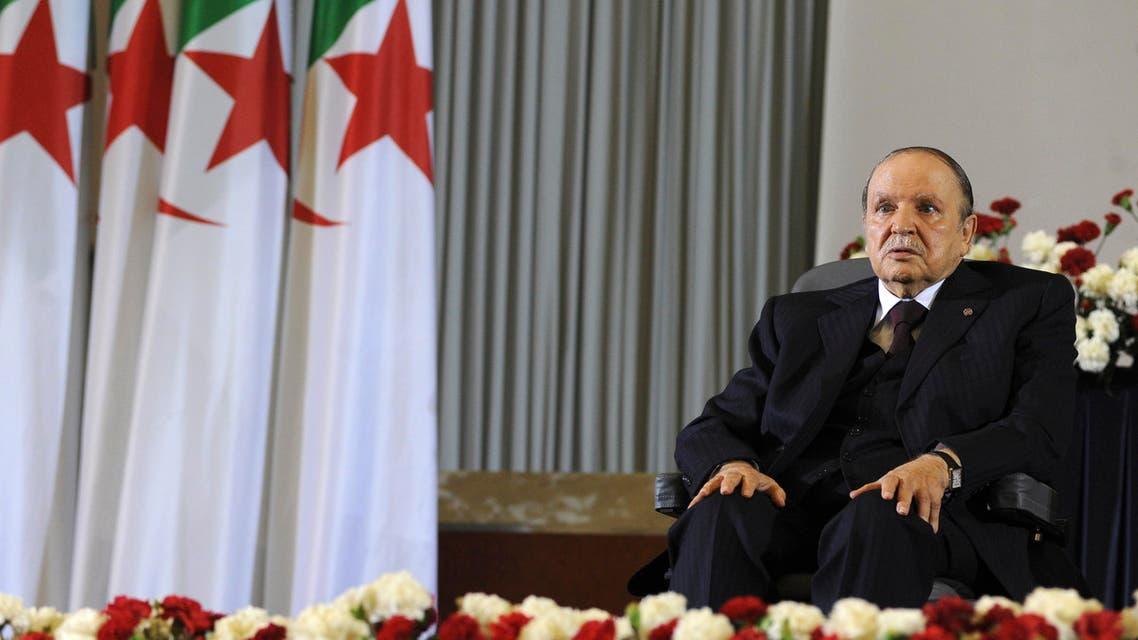 Algerian President Abdelaziz Bouteflika, on a wheelchair, Monday, April 28, 2014 in Algiers. AP