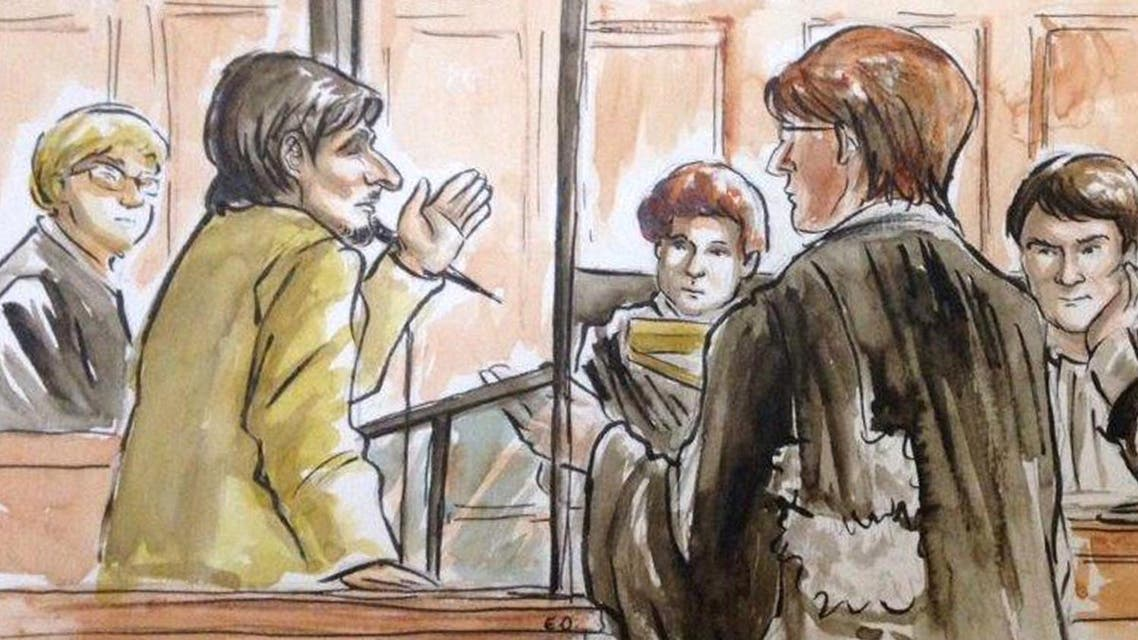 """This court sketch dated on May 4, 2015, shows French Jihadist Gilles Le Guen (L), known as """"Abdel Jelil"""" during his trial in a Paris court. afp"""