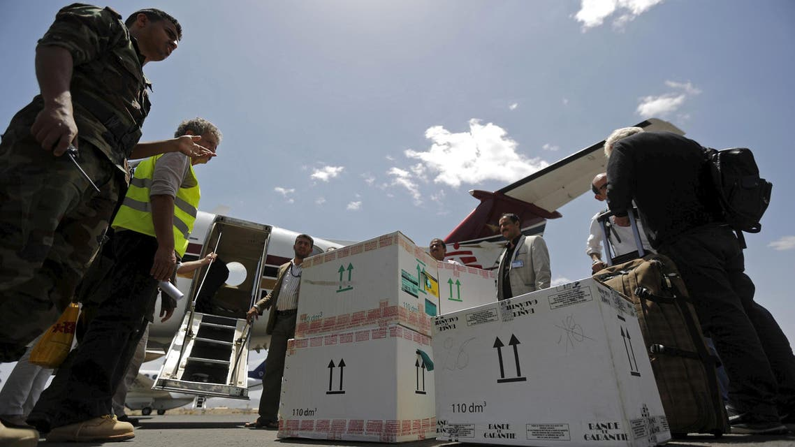 Aid backages are being unloaded from a Doctors Without Borders plane at Sanaa International Airport May 14, 2015. (File: Reuters)